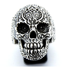 925 Sterling Silver Hollow Sugar Skull Day Of Death Mexico Ring
