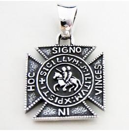 925 Sterling Silver In Hoc Signo Vinces Charm Masonic Conquer Pendant