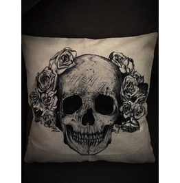 Skull And Roses Pillow Cover
