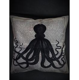 Octopus News Print Pillow Cover