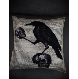 Raven And Skulls Pillow Cover