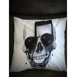 Music Note Skull Pillow Cover