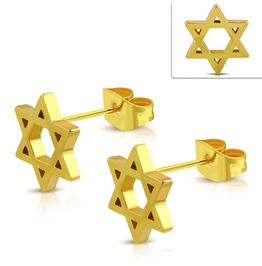 10mm Gold Color Plated Stainless Steel Cut Out Star Of David Stud Earrings