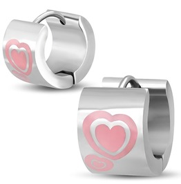 9mm Stainless Steel Pink Enameled Double Love Heart Hoop Huggie Earrings