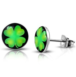 10mm Stainless Steel 3 Tone Love Heart Shamrock Flower Circle Stud Earrings