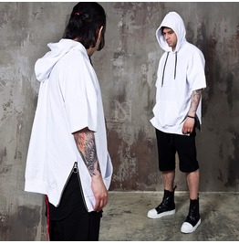 Side Zipper Incision Short Sleeves Hoodie 148