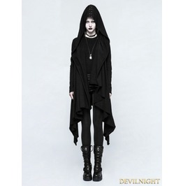 Black Gothic Dark Decadence Knitted Womens Coat With Hood Y 751 Fbk