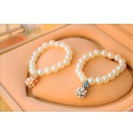 Elegant Crystal Rhinestone Pearl Ball Hand Chain Beads Pendant Bracelets