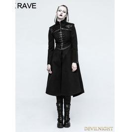 Black Gothic Punk Long Coat For Women Y 777 Fbk