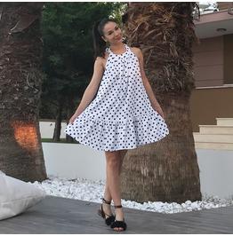 Backless Mini Dress, Sexy Dress, Polka Dot Dress, White Dress, Summer Dress