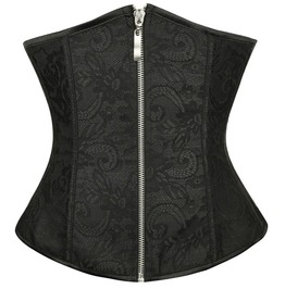 Gothic Black Jacquard Brocade Zip Front Waist Cincher Corset