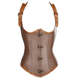 Steampunk Swing Hook Faux Leather Underbust Waist Cincher Corset Vest