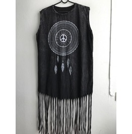 Dream Catcher Punk Hippie Batwing Tussle Fringes Stone Wash Poncho Dress