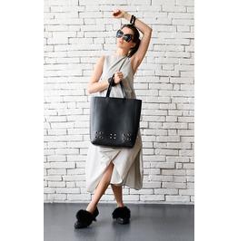 Black Shoulder Bag/Large Maxi Bag/Genuine Leather Black Tote/Black Handbag