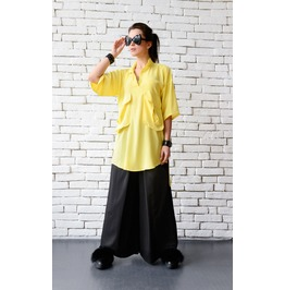 Yellow Loose Shirt/Extravagant Maxi Top/Asymmetric Tunic/Plus Size Shirt