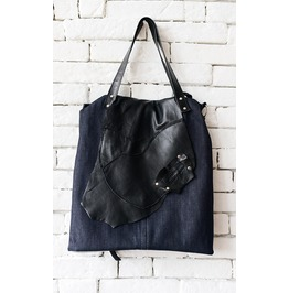 Everyday Denim And Genuine Leather Bag/Extravagant Tote/Multi Color Tote