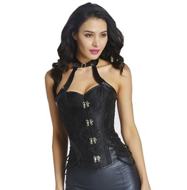 Gothic Steampunk Faux Leather Black Brocade Halter Overbust Choker Corset
