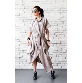 Asymmetric Summer Linen Dress/Plus Size Maxi Dress/Extravagant Oversize Top