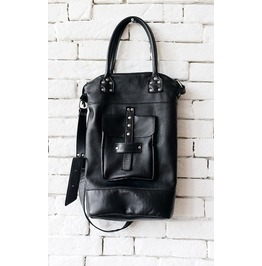 Black Genuine Leather Cross Body Bag/Extravagant Large Black Handbag