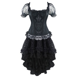 Goth Puff Mesh Sleeves Ruffle Overbust Lace Corset Dress