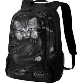Spiral Backpack Rucksack Laptop Bag Bright Eyes Cat Goth