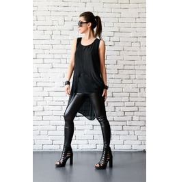 Two Layers Black Summer Top/Asymmetric Casual Vest/Extravagant Black Tunic