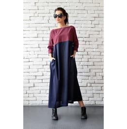 Checked Maxi Dress/Plus Size Kaftan/Long Loose Dress/Dark Blue Oversize Топ
