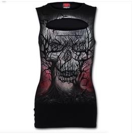 Spiral Direct Gothic Ladies Laser Cut T Shirt Vest Sleeveless Top Dark Root