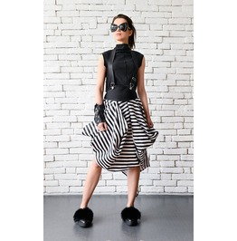 Asymmetric Black And White Skirt/Suspenders Stripe Skirt/Short Summer Skirt