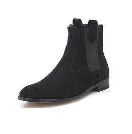 Handmade Men Black Suede Chelsea Boot, Men Ankle Boot, Men Black Boot