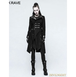 Black Gothic Punk Worsted Long Coat For Women Y 791