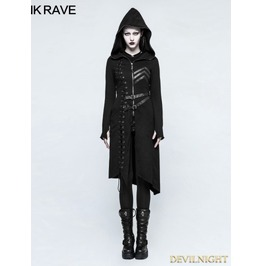Black Gothic Punk Asymmetric Diagonal Hem Sweater Coat For Women Y 792