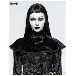 Black Velvet Gothic Small Shawl For Women Y 793