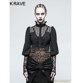 Black Steampunk Long Sleeve Shirt For Women Y 794 Bk
