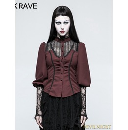 Red Steampunk Long Sleeve Shirt For Women Y 794 Rd