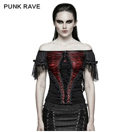 Punk Rave Gothic Boat Neck Lace Tunic Tops T446