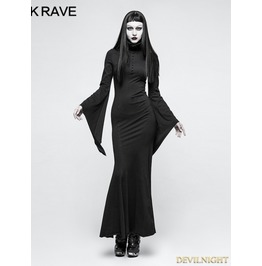 Black Gothic Dark Dress With Mask Q 334