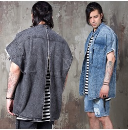 Distressed Cut Vintage Denim Sleeveless Back Zipper Shirts 167