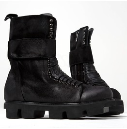 Big Strap Closure Black Lace Up Boots 371