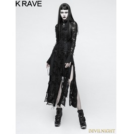 Black Gothic Retro Lace Rope Dress Opq 200