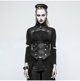 Punk Rave Women Steampunk Buckles High Collar Faux Leather Waistcoats Y775
