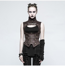 Punk Rave Women Steampunk Buckles High Collar Faux Leather Waistcoats Y775 C