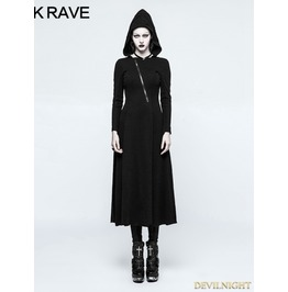 Black Gothic Handsome Hooded Dress Opq 199