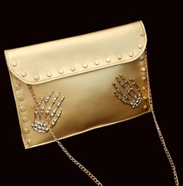 Pu Leather Gold Silver Black Rivet Chains Skeleton Hands Envelope Bag