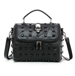 Split Sheep Leather Black Punk Rock Skull Rivets Messenger Tote Bag