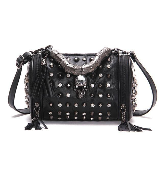 d6f8c9d79f Punk Rock Skull Diamond Rivet Tassel Black Leather