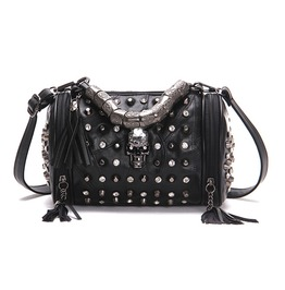Punk Rock Skull Diamond Rivet Tassel Black Leather Bucket Tote Handbag
