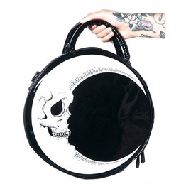Harajuku Punk Goth Dark Moon Skull Thunder Flash Round Handbag
