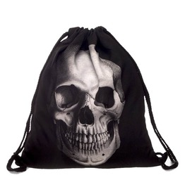 Street Punk 3 D Print Black Skull Drawstring Bag