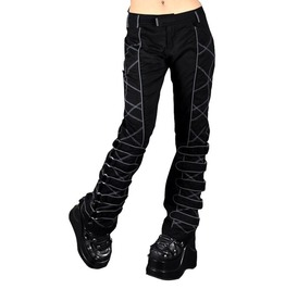 Cryoflesh Black Pants With Grey Stitching, O Rings, And Piping Detail